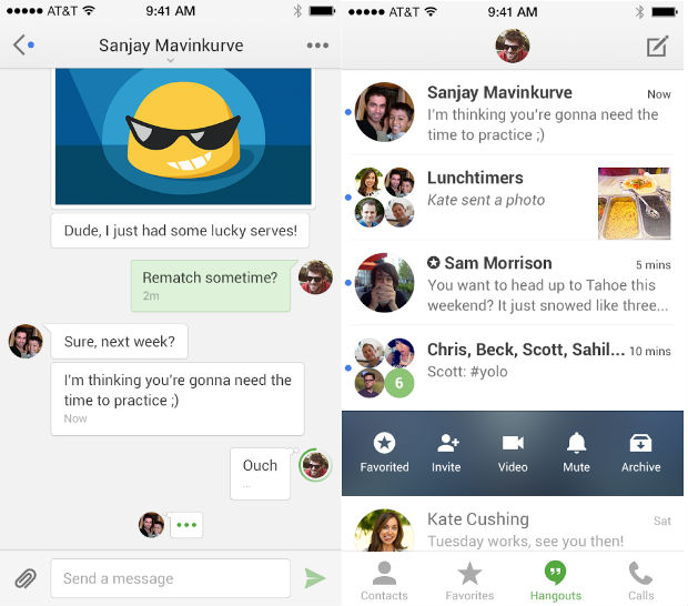 Google updates Hangouts app on iOS with stickers, new interface